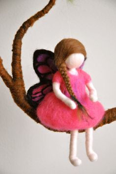Girls Mobile Waldorf inspired needle felted : Pink by MagicWool