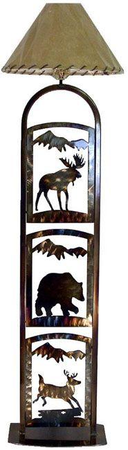 Moose, Bear & Deer Metal Art Floor Lamp