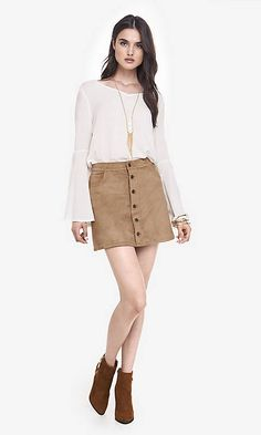 Button Front Faux Suede A-line Skirt | Express