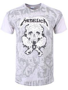 Metallica Pushead Poster All Over Men's Ice Grey T-Shirt