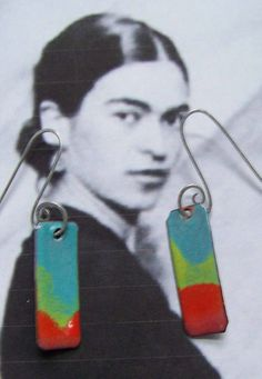 Torch Fired Enamel Copper Earrings Blue Chartreuse Red. $19.00, via Etsy.