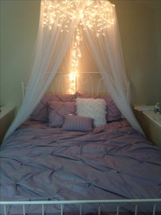 DIY Bed Canopy.  Icicle lights and a $10 canopy from craigslist!                                                                                                                                                                                 More