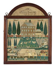 From the landmark collection of Betty Ring - Rare and Important Needlework Sampler, Mary Antrim, Burlington Country, New Jersey, dated 1807 -  Worked in silk and painted paper on linen; signed in the demi-lune Mary Antrim 1807, and in the sampler. In the original frame. Height 17 in. by width 16 3/4 in. [Sold for 1,070,500 USD]