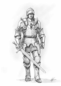 How to draw a Knight . Step by Step Tutorial How to draw a Knight . Step b Character Design Tutorial, Fantasy Character Design, Character Drawing, Knight Drawing, Knight Art, The Knight, Warrior Drawing, Medieval Drawings, Fantasy Drawings