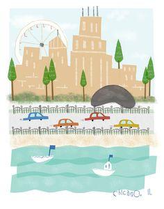 #flat #design #poster: Chicago Illinois - 11x14 print - city illustration poster wall decor children art
