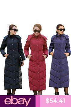 6786b57ad95 Women s Duck Down Jackets Super Long Knee Length Winter Parka Puffer Hooded  Coat
