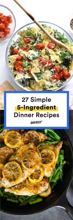 27 Five-Ingredient Dinner Recipes for Stress-Free Meals On a tight schedule? You'll be amazed by what you can make. Vegetarian Recipes Dinner, Healthy Dinner Recipes, Appetizer Recipes, Cooking Recipes, Weeknight Recipes, Lunch Recipes, Cooking Games, Healthy Dishes, Healthy Meals