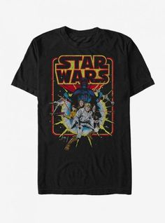 It's hard work defending the galaxy! Just ask the rebels on the Star Wars Retro Explosion Black T-Shirt. This cool black Star Wars shirt features Luke, Leia, Han, and Darth Vader in a vintage distressed style. Camisa Star Wars, Star Wars Quotes, Star Wars Tshirt, Look Vintage, Black Star, Mens Tees, Shirt Men, Ideias Fashion, Graphic Tees