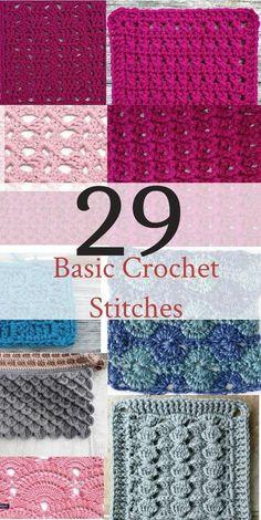 Basic Crochet Stitches If you want to learn to crochet, use this handy list of basic crochet stitches for beginner crochet.If you want to learn to crochet, use this handy list of basic crochet stitches for beginner crochet. Crochet Simple, Crochet Diy, Learn To Crochet, Crochet Crafts, Crochet Projects, Crochet Ideas, Crochet Tutorials, Double Crochet, Mandala Crochet