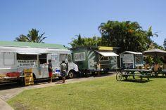 The solar-powered lunch wagon of Hanalei Taro & Juice Co. in Kauai, Hawaii. Inexpensive, classic Hawaiian foods (Laulau, Kalua Pig, Poi, Lomi Salmon, Kulolo) and unique items made with traditional ingredients (Taro Hummus, Taro Veggie Burgers, Taro Mochi Cake, Tropical Taro Smoothies).