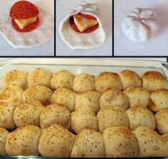 Pepperoni Pizza Rolls - Good, easy recipe - I'd recommend using rolls other than the Pillsbury Biscuits in this one, although those do fine too. Definitely make sure to put the seasonings on top! And serve with warm pizza sauce
