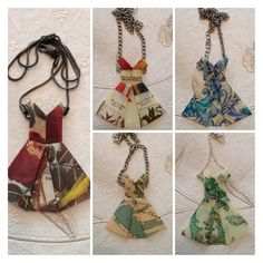 Origami Paper Dress Necklace by SLHJewellery on Etsy, £12.00