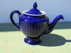Royal blue teapot - made by Hall by GiftedEnrichment on Etsy