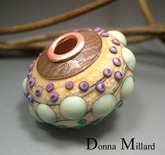 HANDMADE LAMPWORK FOCAL Glass Bead Donna Millard sra lamp work purple teal ivory…