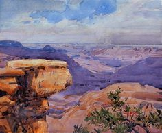 """""""Dancing Shadows"""" 10x12 in. / 26x30 cm. watercolor, Painted on the spot from the north rim of the Grand Canyon."""