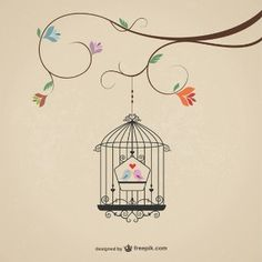 Vintage cage with birds Free Vector Bird Free, Bird Cages, Shabby, Illustration, Decoupage, Vector Free, Creations, Doodles, Sketches