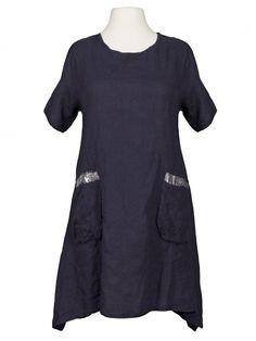Damen Tunikakleid Leinen, blau von Puro Lino bei www.meinkleidchen.de