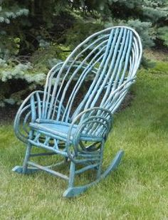 Early 20th century Exceptional Bedford County,Pennslyvania,  Twig Roking Chair with the  robin egg blue paint This twig rocking chair is in original, untouched condition. Very well-made and solid