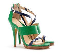 Sole Society Callista Asymmetrical Sandal Kelly Green. Color blocking sandals for summer