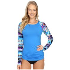 TYR Boca Chica Long Sleeve Swim Shirt (Blue) Women's Swimwear ($50) ❤