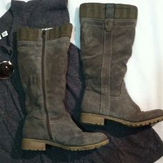 Bjorndal boots Bjorndal knee high boot gray suede type material and top is a sweater type material. These are nice boots and will be around for awhile. They are preloved with a few character marks but nothing major. These will make a great pair of running around in winter and being warm..price is firm as these are Bjorndal and it reflects the few minor flaws. Bjorndal Shoes Winter & Rain Boots