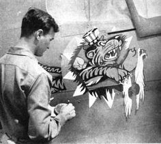 Early Flying Tiger Logo - Insignia of China Air Task Force is the flying tiger of Chennault's earlier A.V.G. units, with addition of Uncle Sam's hat to show it is now part of U.S. Army Air Force.