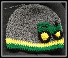 Crochet John Deere boys photo prop beanie grey tractor newborn 3-6 6-12 1- 3 years adult hat $20