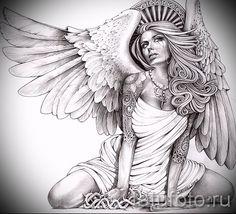 Эскиз тату ангел - красивая девушка в коротком платье стоит на коленях