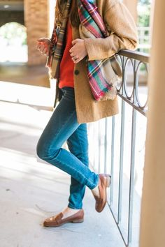 tan jacket, red patt