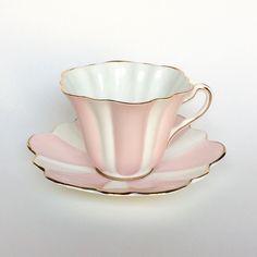 Vintage Rosina Bone china Scallop white pink teacup England shabby chic   eBay