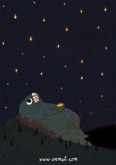 grand monstre vert qui mange les étoiles