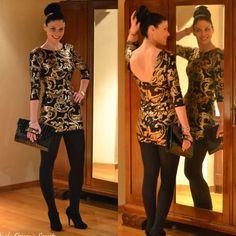 Vestido fiesta lentejuelas dorado/negro - Chicfy