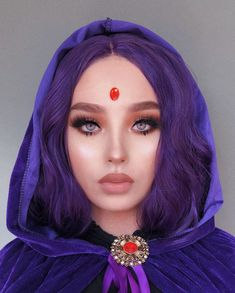 """""""Raven"""" from Teen Titans 💜 Wig Cute Couple Halloween Costumes, Halloween Cosplay, Halloween Outfits, Cosplay Costumes, Disney Halloween Makeup, Barbie Halloween, Halloween 2020, Cosplay Makeup, Costume Makeup"""