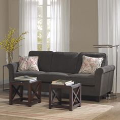 @Overstock - Add style and comfort to any room in the house with this Griffin charcoal transitional roll arm sofa. Three 1.8 density loose seat cushions, wood legs and an elegant espresso finish complete the look of this sofa.http://www.overstock.com/Home-Garden/Griffin-Charcoal-Sofa/5216594/product.html?CID=214117 $590.99