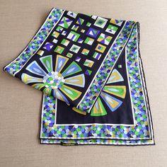 Vintage Emilio Pucci silk scarf - onlygoodvintage Brutalist Design, Vintage Pottery, Contemporary Jewellery, Vintage Buttons, Emilio Pucci, Scandinavian, Vintage Jewelry, Silk, Vintage Ceramic