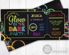 Glow in the Dark Invitations tickets Admit One Party by wowwowmeow