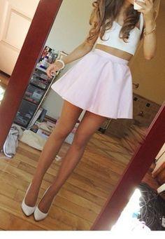 Pink Circle Skirt / White Crop Top