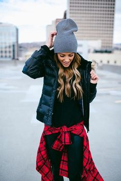 Flannel shirt Slouchy knit sweater  Down coat  Dark wash denim