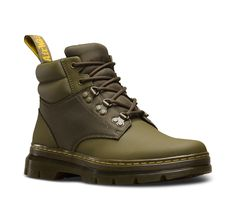 Influenced by 90s street wear, the tough Rakim boot features a padded contrast ankle with premium geometric-embossed leather and nylon panelling. Sporty, hiking-inspired D-ring laces and an extra-rugged tread on the iconic air-cushioned sole bring the urban utilitarian vibes — while grooved sides, yellow stitching and scripted heel-loop bring the unmistakeable Doc's DNA.
