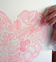 Image of Neon Pink Pasta Heart Letterpress Print
