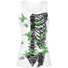 """Esclusiva EMP! Top bianco """"Colibri Skeleton"""" della collezione EMP Full Volume con scheletro nero e colibrì verdi stampati sul davanti."""