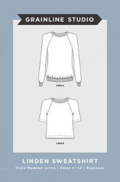 Grainline Studio Ladies Easy Sewing Pattern 11005 Linden Sweatshirt | Sewing | Patterns | Minerva Crafts