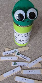 Don't Get Zapped! This game was made for first graders, but could oh so easily be adapted for older students with multiplication, division, decimals and more.