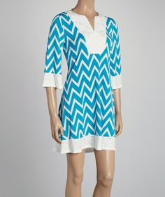 Another great find on #zulily! Blue & White Zigzag Notch-Neck Dress #zulilyfinds