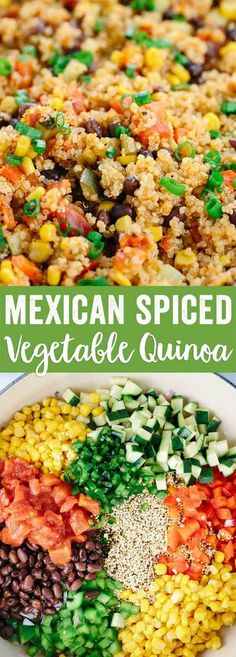 One Pot Mexican Spiced Vegetable Quinoa - This recipe is loaded with bold flavors and healthy ingredients like protein, fiber, and vegetables in each delicious spoonful.