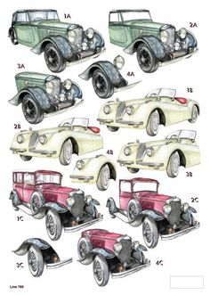 A4 3D die cut decoupage - Mens Machines - Vintage cars