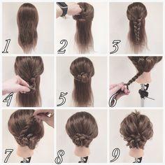 髪飾りみたいなヘアアレンジ♡ 動画で見たい方はInstagramにてID okitatsu33 にて検索!! 1.ベースは何もしない状態 2.後頭部を上下で分けます 3.上の部分を三つ編みします 4.毛先から巻き込んで 5.結んだ部分にまとめます 6.左に向かってロープ編みします 7.まとめた部分に巻きつけます 8.ピンで固定します 9.バランスを合わせて完成♡ 可愛いやないかーい♡ LETS TRY٩( *˙0˙*)۶
