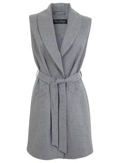 Miss Selfridge Grey Belted Sleeveless Coat Ärmelloser Mantel, Mode Mantel, Work Fashion, Hijab Fashion, Fashion Outfits, Womens Fashion, Trajes Business Casual, Sleeveless Jacket, Belted Coat