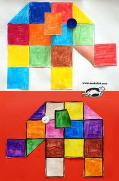 Squared elephants - would work with Elmer the Elephant primary colors? Art For Kids, Crafts For Kids, Arts And Crafts, Paper Crafts, Elmer The Elephants, Elephant Crafts, Elephant Elephant, Montessori Art, Preschool Art