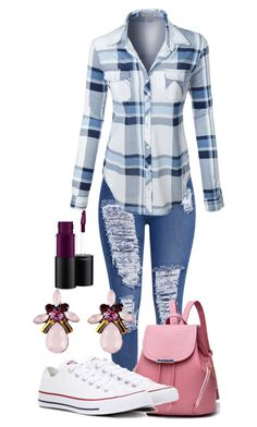 """""""Untitled #1611"""" by social-outcast-16 on Polyvore featuring LE3NO, Converse and MAC Cosmetics"""